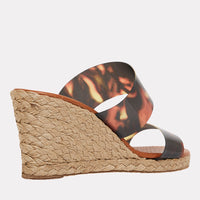 Anfisa Printed Vinyl Espadrille Wedge (Brown Tortoise).