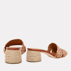 Cadyn Natural Raffia Block Heel Sandal (Copper)