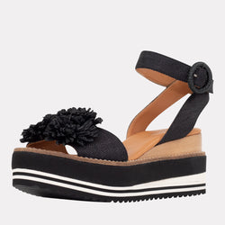 Carlee Natural Raffia Platform Wedge Espadrille (Black)