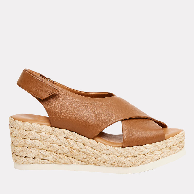 Corbella Napa Leather Espadrille Wedge (Cuero)