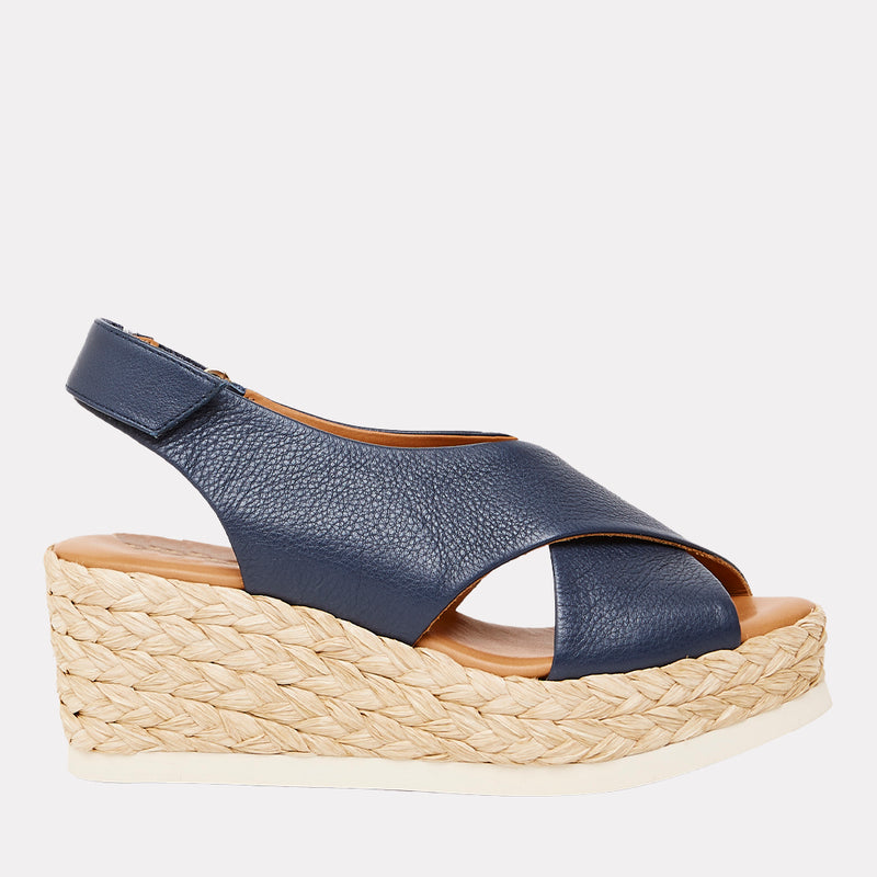 Corbella Napa Leather Espadrille Wedge (Navy)
