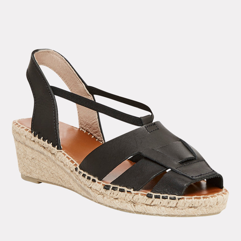 Dorit Napa Leather Peep Toe Espadrille Sandal (Black)