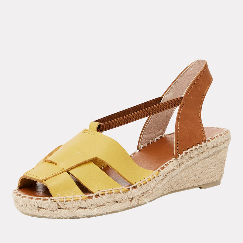 Dorit Napa Leather Peep Toe Espadrille Sandal (Saffron)