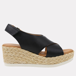 Corbella Napa Leather Espadrille Wedge (Black)