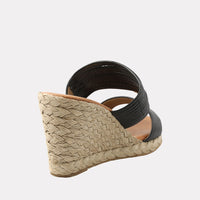Amy Leather Espadrille Wedge Sandal (Black)