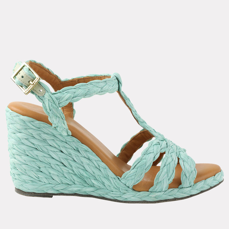 Madina Raffia Wedge (Teal)