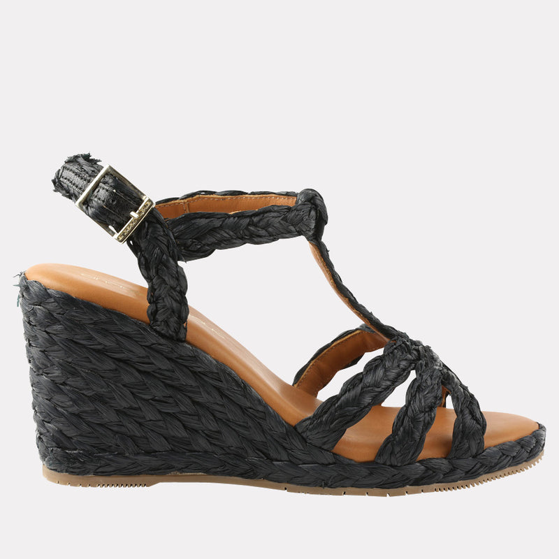 Madina Raffia Wedge (Black)