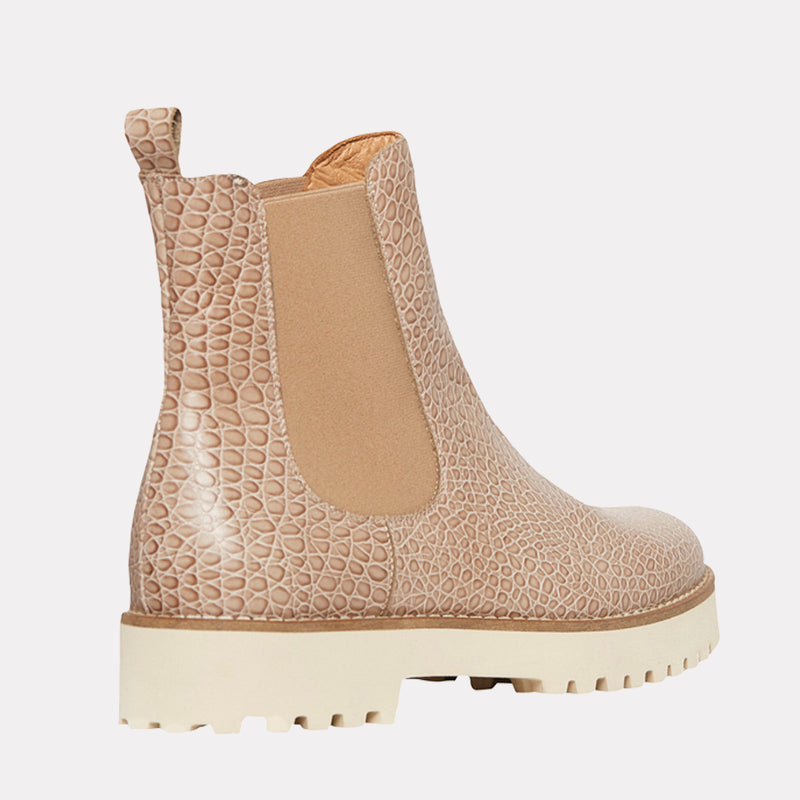 Peggy Embossed Chelsea Boot (Beige Croc)