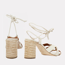 Maggie Napa Leather / Ornament Ankle Wrap Block Heel (White)