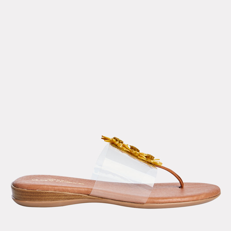 Nadine Vinyl/Raffia Ornament Thong Sandal (Yellow)