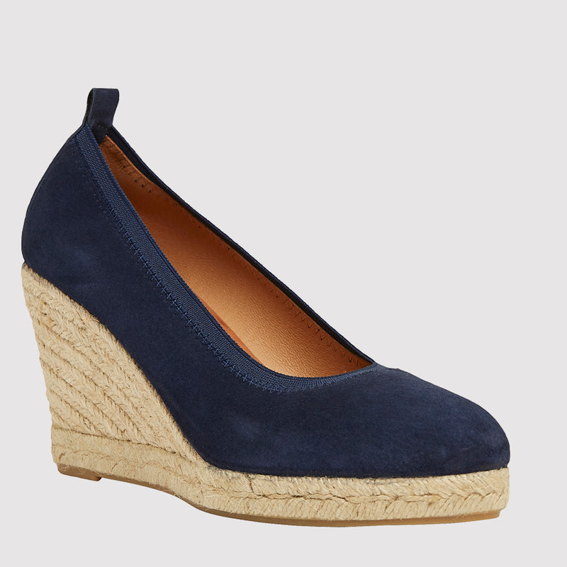 Rhonda Napa Closed Toe Espadrille Wedge (Navy)