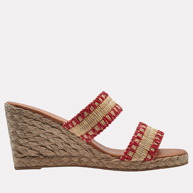 Nolita Raffia Double Banded Wedge (Beige/Red)