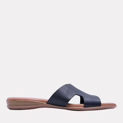 Nadenka Napa Leather H-Strap Flat Sandal (Black)