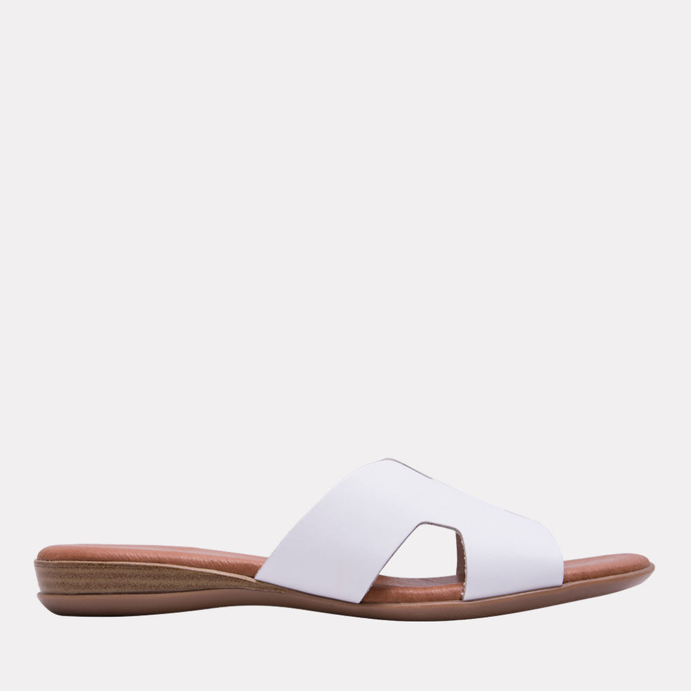 Nadenka Napa Leather H-strap Flat Sandal (White)