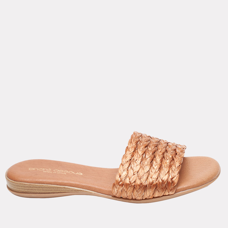 Nahala Featherweights ™ Natural Raffia Woven Slide Sandal (Copper)