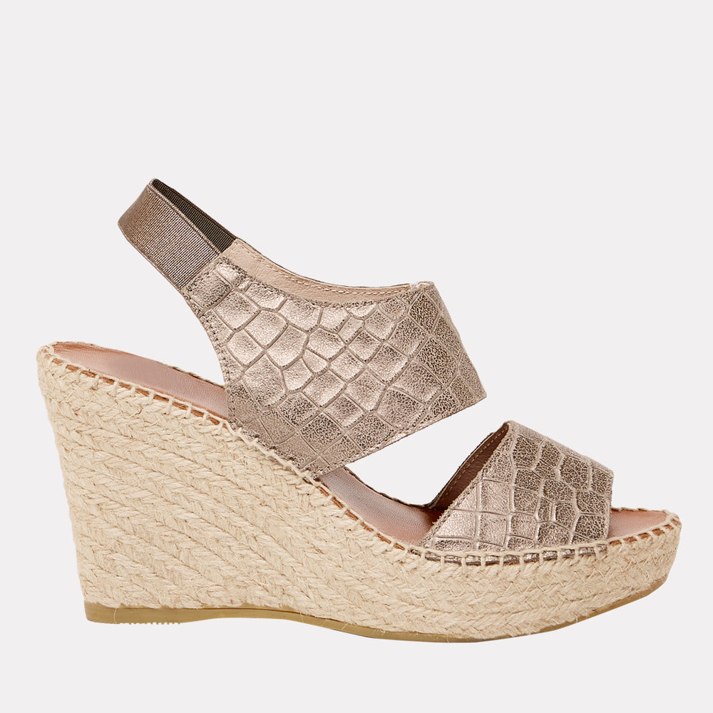 Reese Embossed Croc Leather Espadrille Wedge (Pewter Croc)