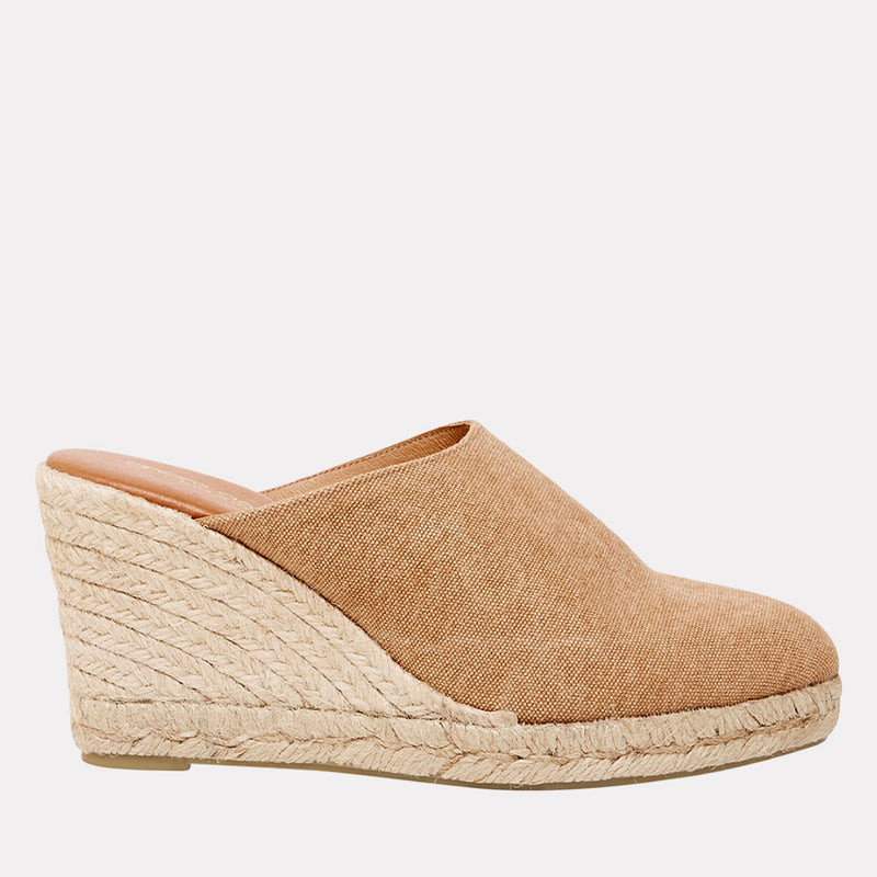 Rosette Distressed Canvas Mule Esapdrille (Beige)