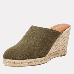 Rosette Distressed Canvas Mule Esapdrille (Olive)