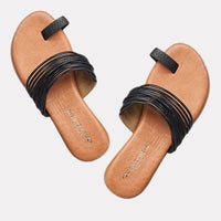 Vira Leather Toe Ring Flat Sandal (Black)
