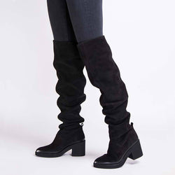 Natalia Suede Over The Knee Boot (Black)