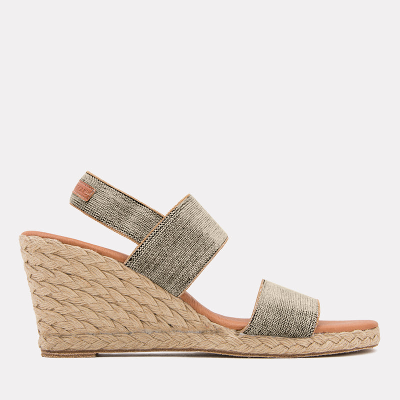 Allison Linen/Canvas  Espadrille Wedge Sandal (Black Beige)