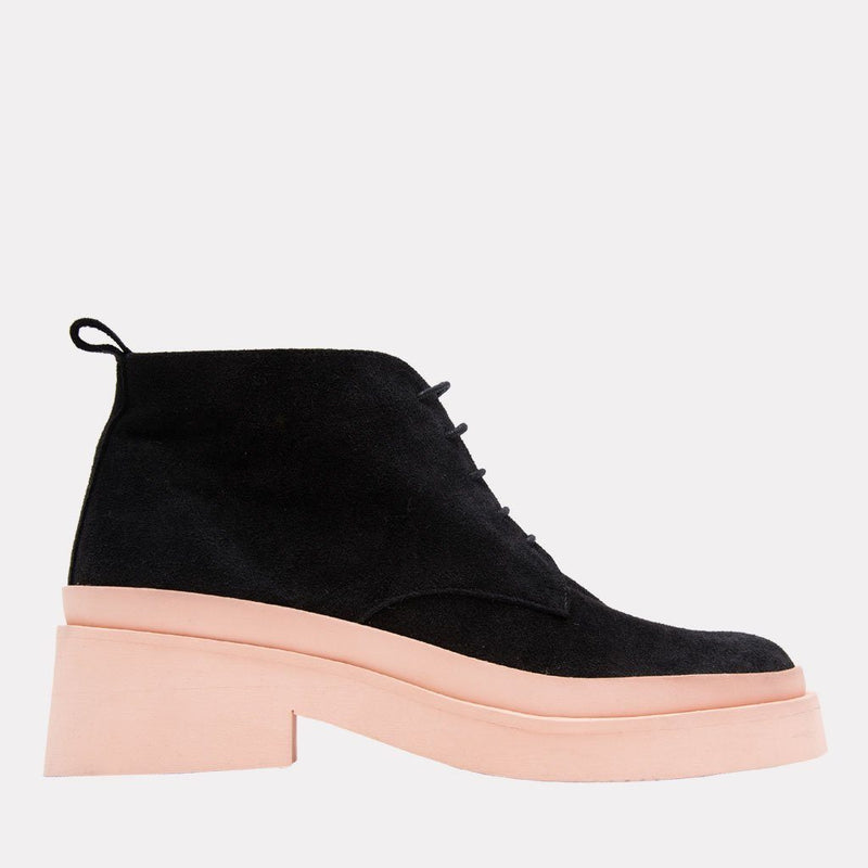 Boot - Eve Nappa Leather/Elastic Lace Up Boot (Black/Rosa)