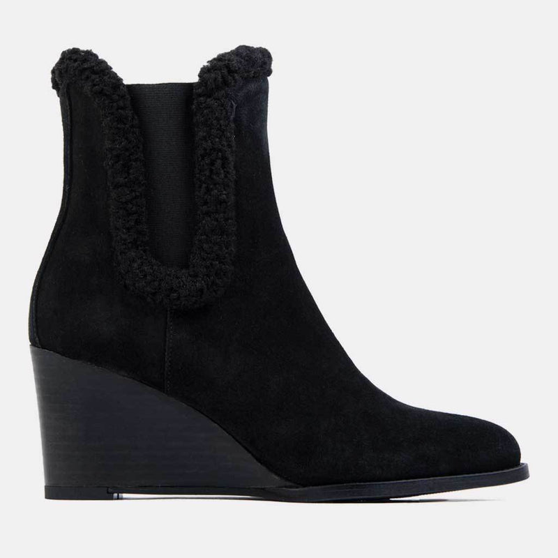 Boot - Sasha Suede/Shearling Chelsea Wedge Bootie (Black Suede)