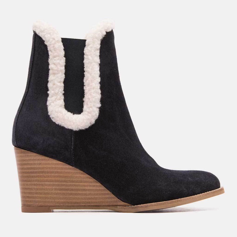 Boot - Sasha Suede/Shearling Chelsea Wedge Bootie (Navy Suede)