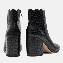 Boot - Selena Embossed Croc Bootie (Black/Croc)