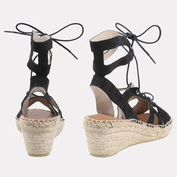 Deanna Suede Lace Up Espadrille Wedge (Black Suede)