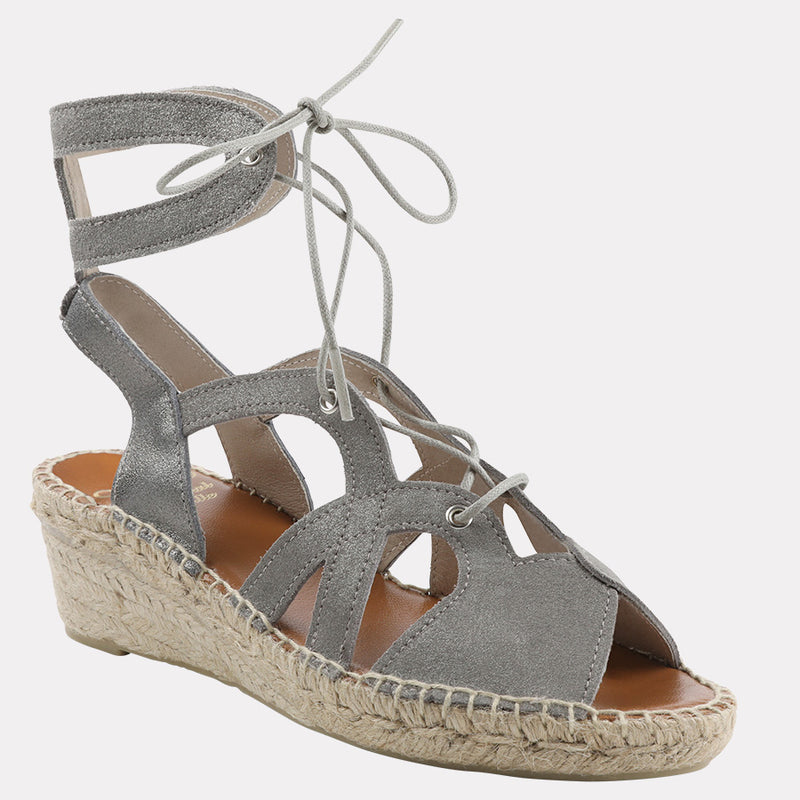 Deanna Metallic Suede Wedge (Pewter Suede)