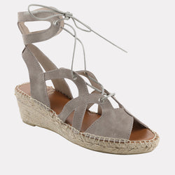 Deanna Suede Lace Up Espadrille Wedge (Taupe Suede)