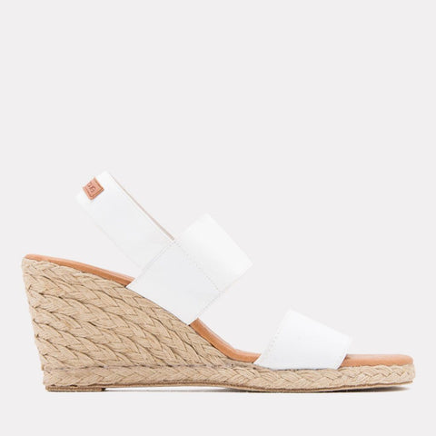 Allison Elastic Espadrille Wedge (White)