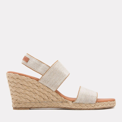 Allison Linen Espadrille Wedge (Beige)