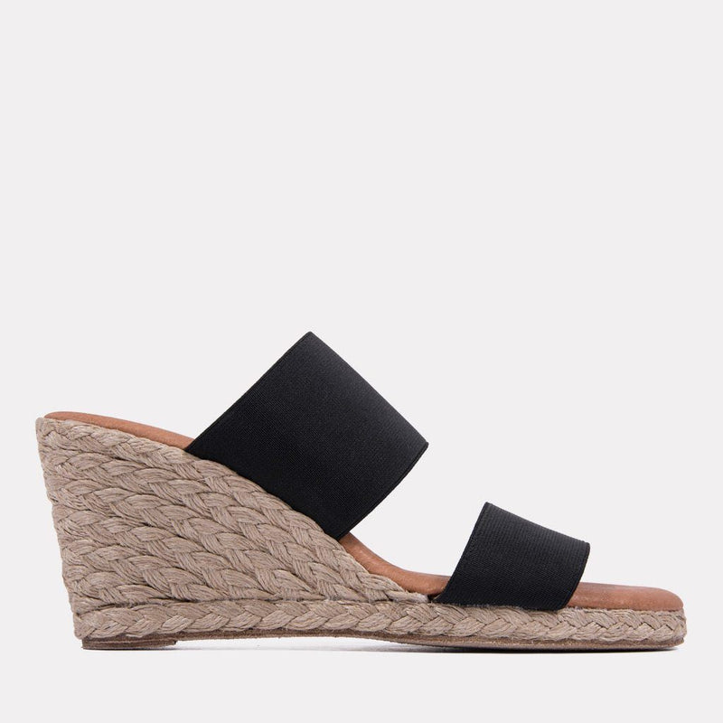 Espadrille - Amalia Elastic Double Band Espadrille Wedge (Black)