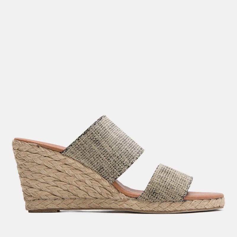 Espadrille - Amalia Elastic Double Band Espadrille Wedge (Black/Beige)