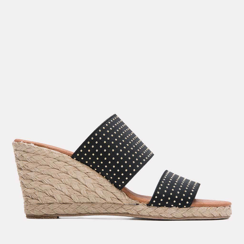 Espadrille - Amalia Elastic Double Band Espadrille Wedge (Black/Gold)
