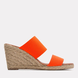 Espadrille - Amalia Elastic Double Band Espadrille Wedge (Neon Orange)