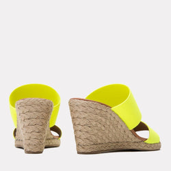 Espadrille - Amalia Elastic Double Band Espadrille Wedge (Neon Yellow)