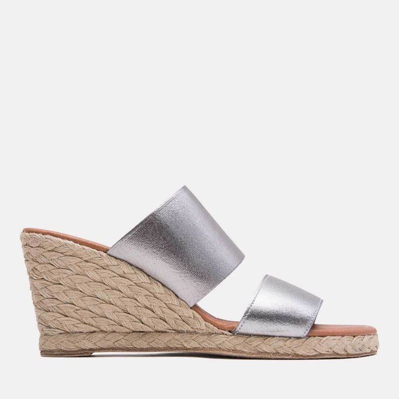 Espadrille - Amalia Elastic Double Band Espadrille Wedge (Pewter)