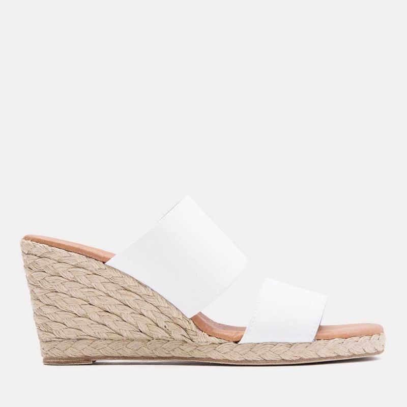 Espadrille - Amalia Elastic Double Band Espadrille Wedge (White)