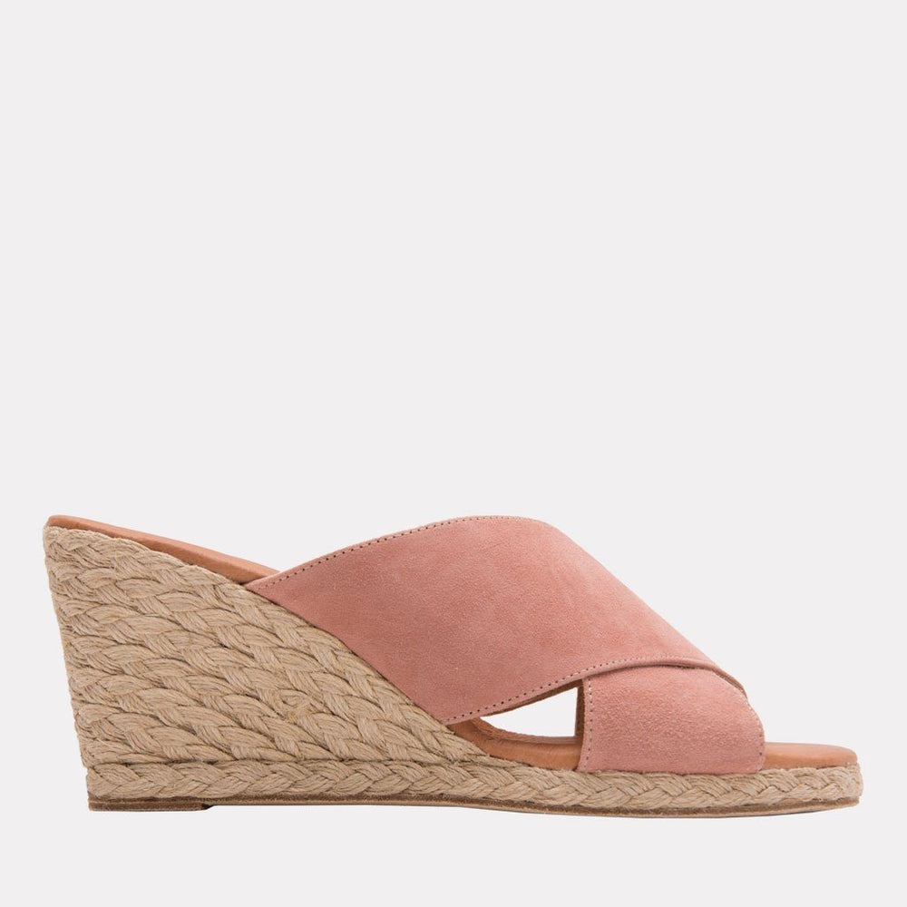 Espadrille - Amber Suede Criss Cross Straps Espadrille Wedge (Blush Suede)