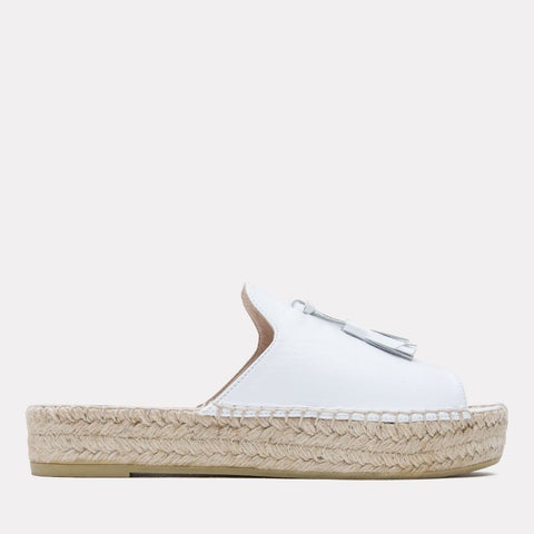 Cameron Napa Leather Espadrille Slide (White)