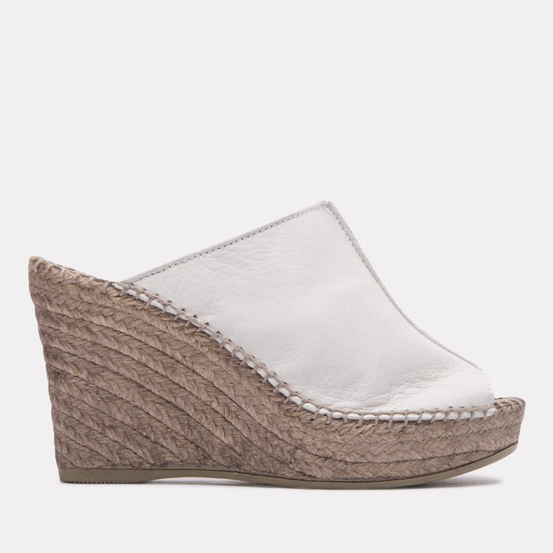 Espadrille - Cici Leather Espadrille Sandal Wedge (White)