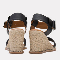 Espadrille - Cleoni Leather Espadrille Wedge (Black)