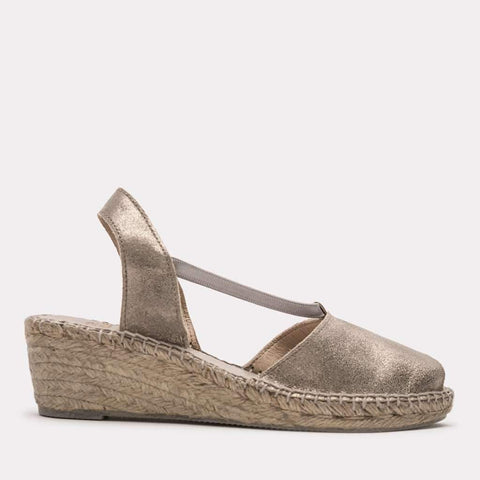 Dainty Brushed Suede Espadrille Wedge (Pewter)