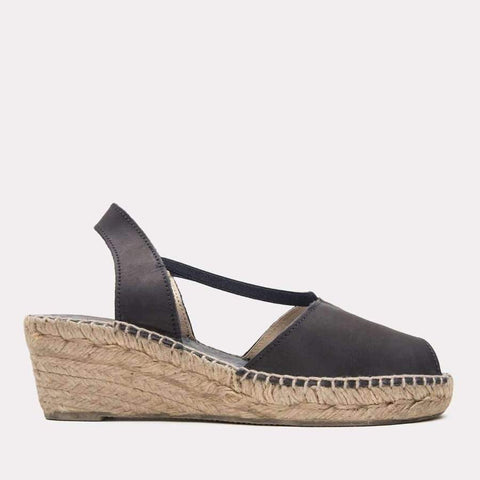 Dainty Napa Leather Espadrille Wedge Sandal (Black)