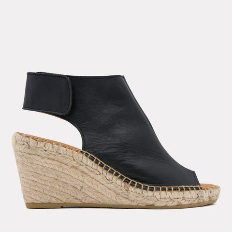Flora Napa Leather Espadrille Wedge (Black)