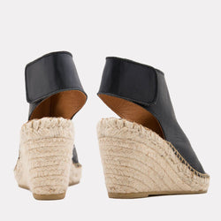 Espadrille - Flora Napa Leather Espadrille Wedge (Black)