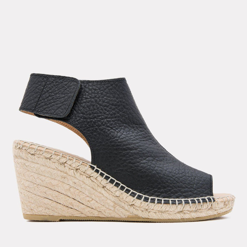 Espadrille - Flora Pebbled Leather Espadrille Wedge (Black)